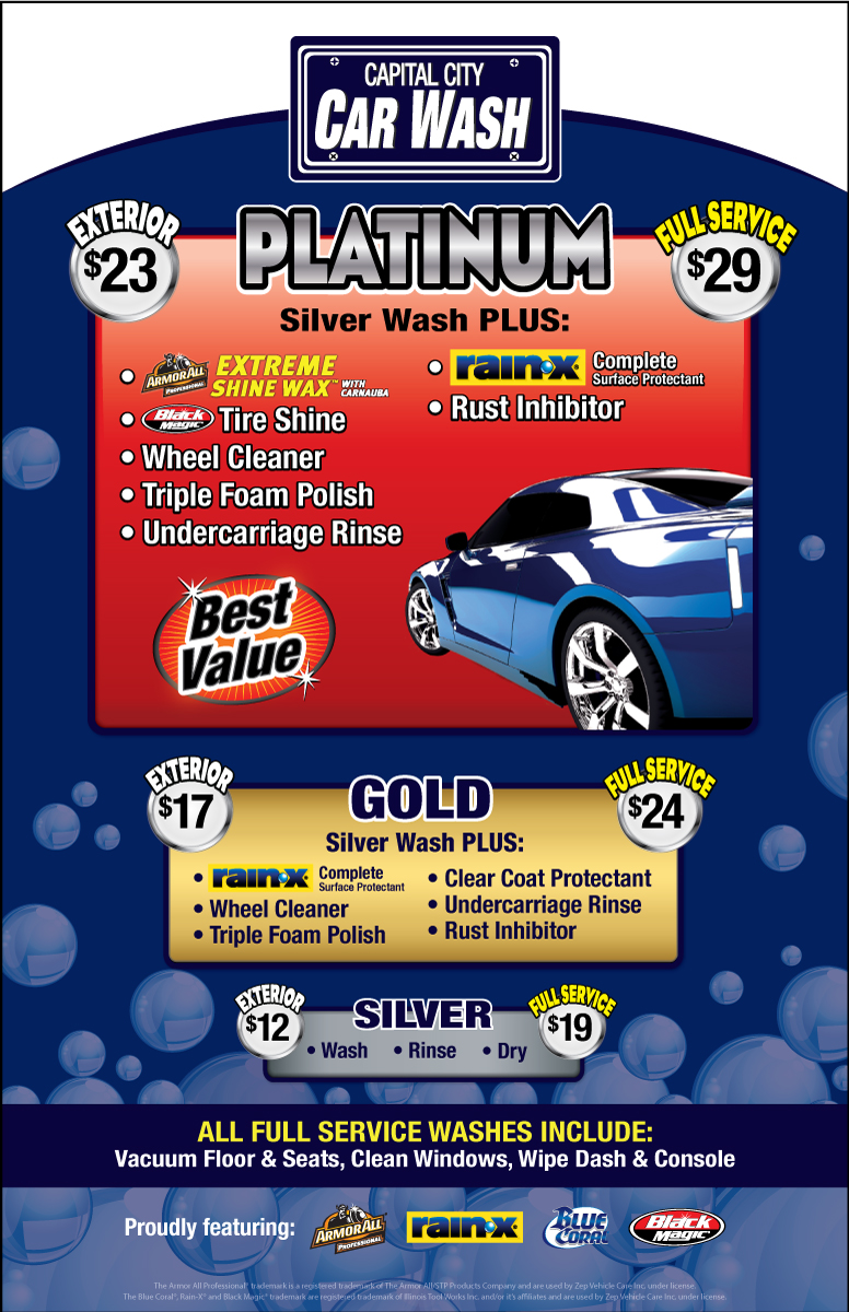 Platinum Car Wash >> Wash Services Capital City Car Wash